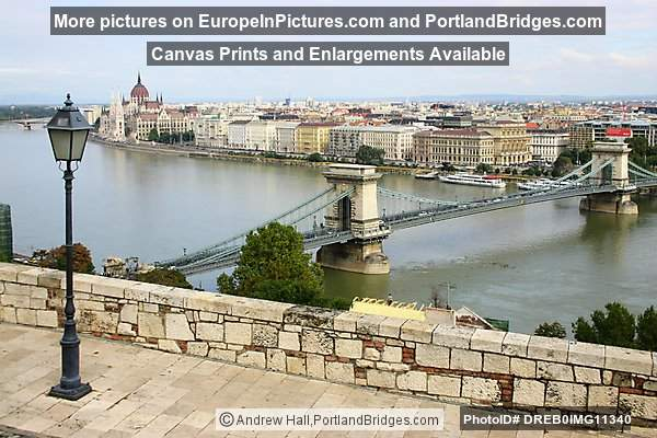 Chain Bridge from Viewpoint, Daytime, Budapest
