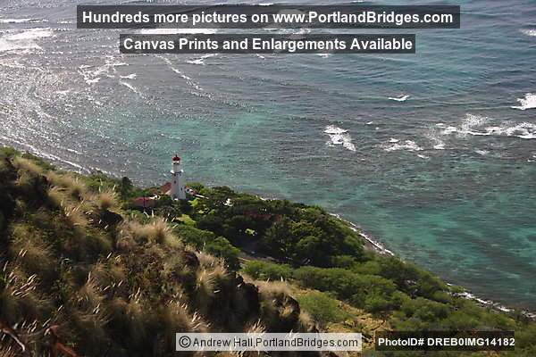 Oahu, Hawaii:  View from Diamond Head top, facing west, Lighthouse