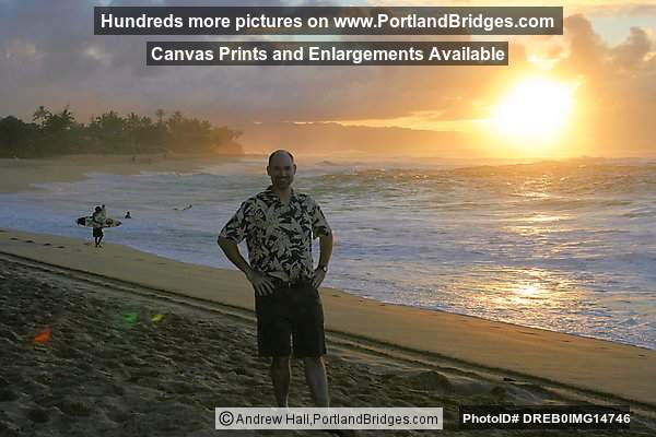 Oahu, Hawaii, North Shore, Sunset Beach: Andrew, Sunset