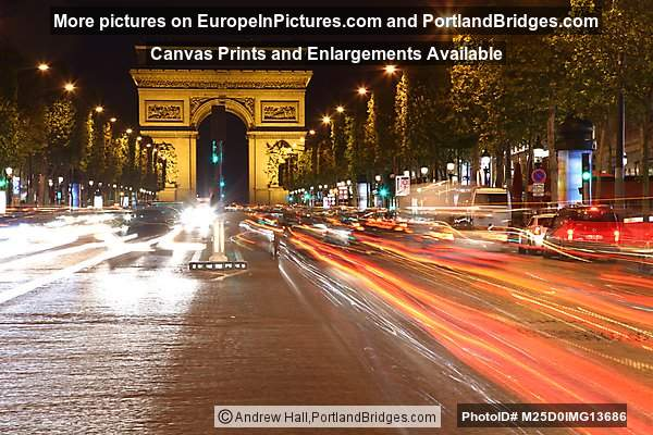 Arc de Triomphe at Night, Champs-Élysées, Car Light Streaks