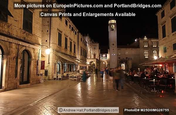 Dubrovnik, Luza Square at Night