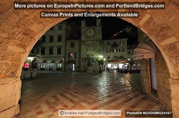 Kotor Main Town Gate at Night