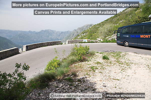Driving Above Kotor, Approaching Bus