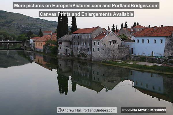 Trebinje along the river, building reflections