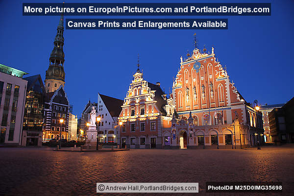 Town Hall Square, House of Blackheads, Dusk, Riga, Latvia