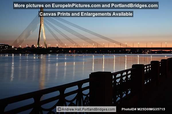 Vanšu Bridge, Sunset, Riga