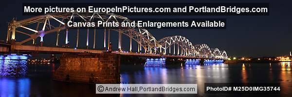 Riga Railroad Bridge at Night