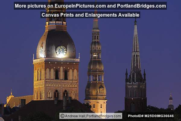 Riga Panorama, Riga Cathedral, St. Peter's, Dusk