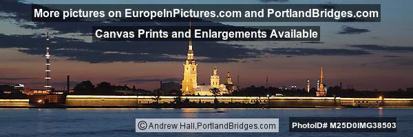 Peter and Paul Cathedral, Neva River, Panorama, Night
