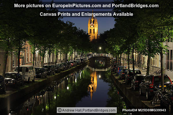 Delft Old Church, Canal, Reflection, Night