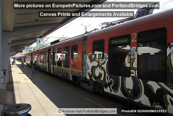 Slovenian Train with graffiti at Maribor Train Station