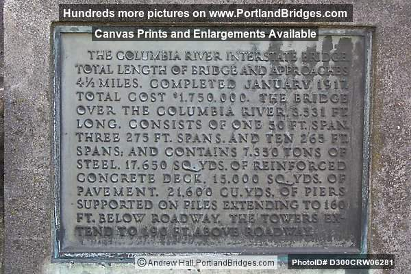 Plaque from Interstate Bridge (Portland, Oregon)