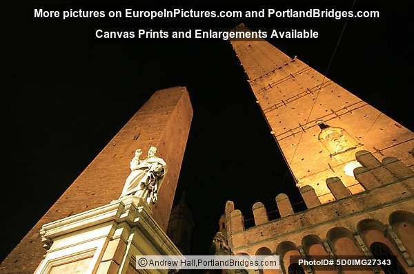 Bologna, Italy:  Asinelli and Garisenda Towers at Night