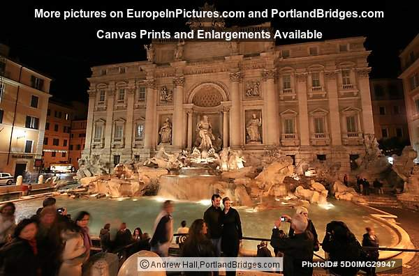 Trevi Fountain at Night, Rome