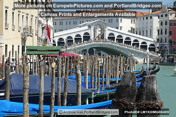 Gondolas Docked on Grand Canal, Rialto Bridge