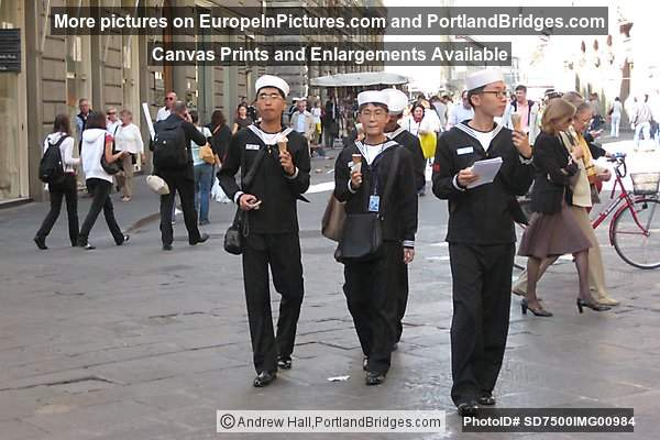Japanese Sailors eating ice cream in Florence