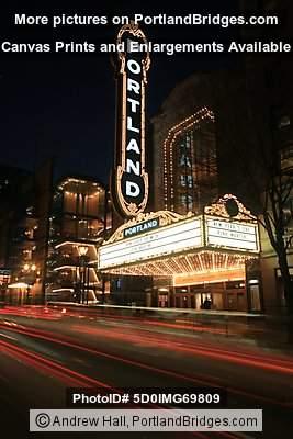 Portland Sign Arlene Schnitzer Concert Hall Car Light Streaks - Schnitzer concert hall portland