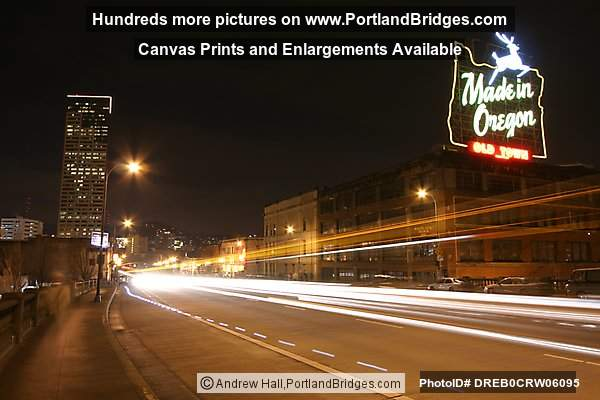 Made in Oregon Sign, Burnside Bridge, Car Lights, Night