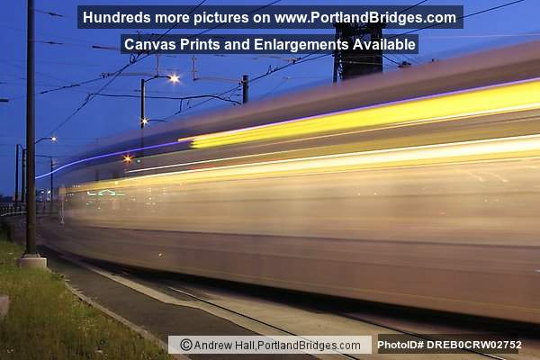 MAX Train Going Across Steel Bridge, Long Exposure, Light Streaks (Portland, Oregon)