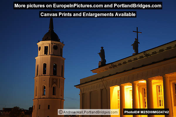Belfry, Cathedral, Dusk, Vilnius, Lithuania