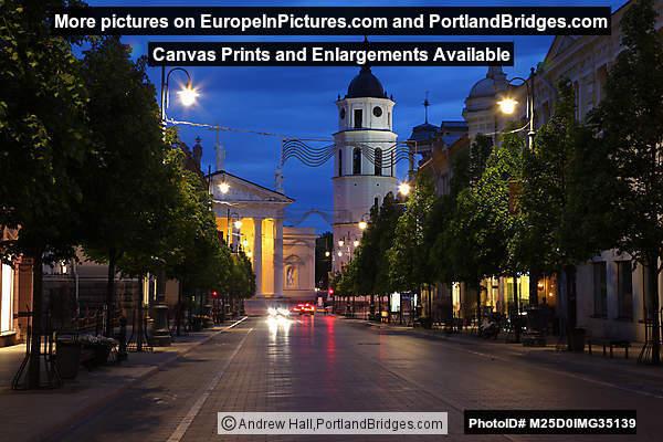 Belfry, Cathedral, Vilnius, Lithuania, Dusk
