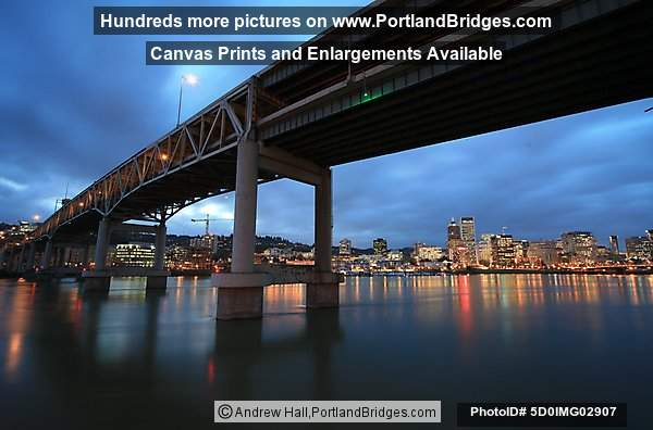 Marquam Bridge, Portland Buildings, Willamette River, Dusk