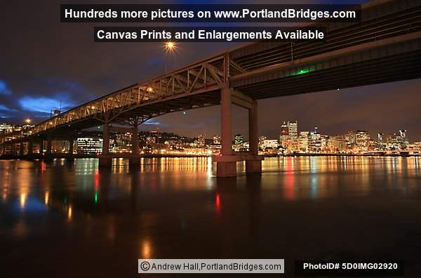 Marquam Bridge, Riverplace in Background, Dusk (Portland, Oregon)