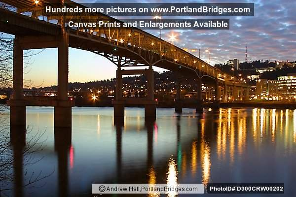 Marquam Bridge, Dusk, Clouds, Willamette River Reflections (Portland, Oregon)