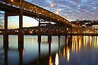 Marquam Bridge, Dusk, Clouds, Willamette River Reflections