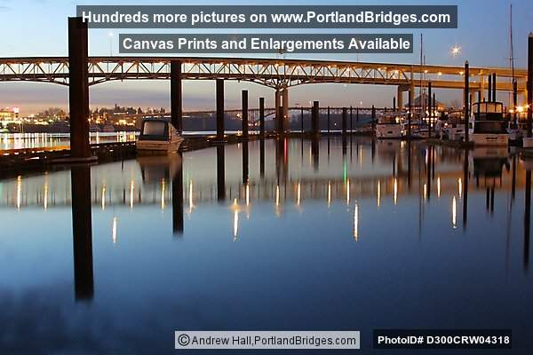Riverplace Marina and Marquam Bridge, Daybreak (Portland, Oregon)