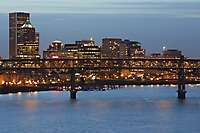 Portland Cityscape From Ross Island Bridge Dusk