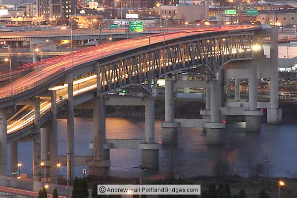 Marquam Bridge, Dusk, Car Lights (Portland, Oregon)