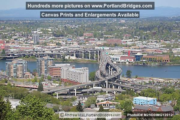 Marquam Bridge, Willamette River, OMSI View from above (Portland, Oregon)