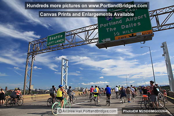 Bridge Pedal Cyclists on Marquam Bridge, I-84 Sign (Portland, Oregon)