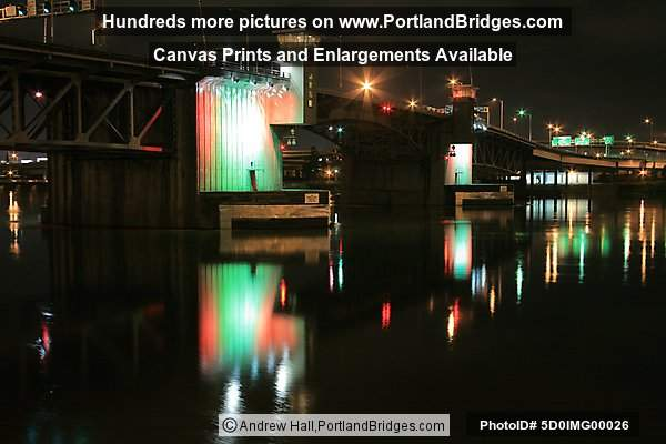 Morrison Bridge, Willamette River Reflections, Dusk