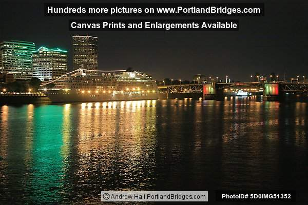 The World Cruise Ship, Docked, Willamette River, Night, Morrison Bridge, Portland, Oregon, June 2009
