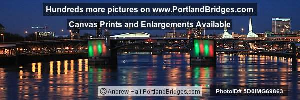 Morrison Bridge Lit Up, Willamette River, Dusk (Portland, Oregon)