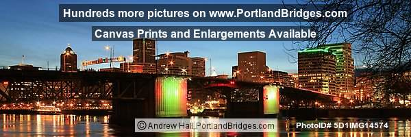 Morrison Bridge, Willamette River, Dusk (Portland, Oregon)
