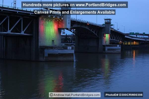 Morrison Bridge, Lighted, Dusk