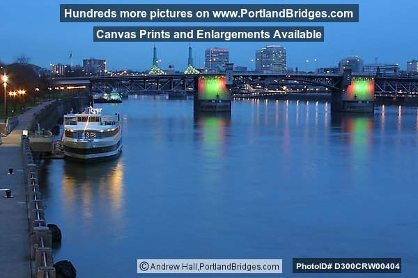 Morrison Bridge, Lighted, Willamette River, Dusk