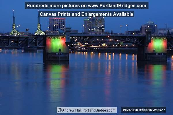 Morrison Bridge, Lighted, Dusk (Portland, Oregon)