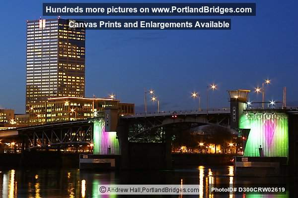 US Bancorp Tower and Morrison Bridge, Lighted (Portland, Oregon)