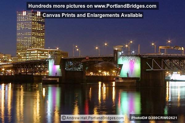 US Bancorp Tower and Morrison Bridge, Lighted