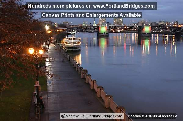 Morrison Bridge at Dusk, Willamette RIver, Gov. Tom McCall Waterfront Park (Portland, Oregon)
