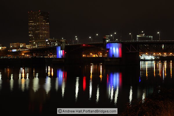 Morrison Bridge, Lit for Paris Attacks 2015 (Portland, Oregon)