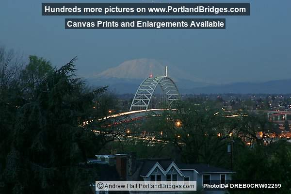 Fremont Bridge, Mt. Saint Helens, Dusk (Portland, Oregon)