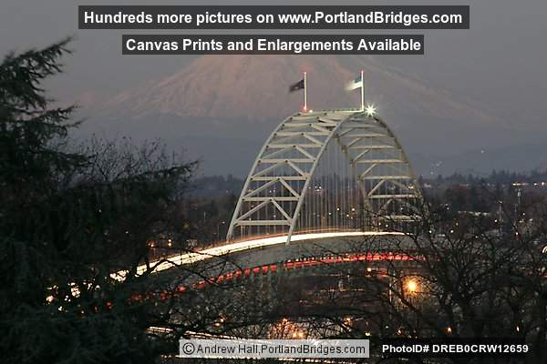 Fremont Bridge with Mt. St. Helens, Car Lights, Dusk