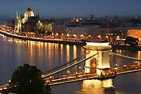 Budapest Chain Bridge, Danube River, Dusk