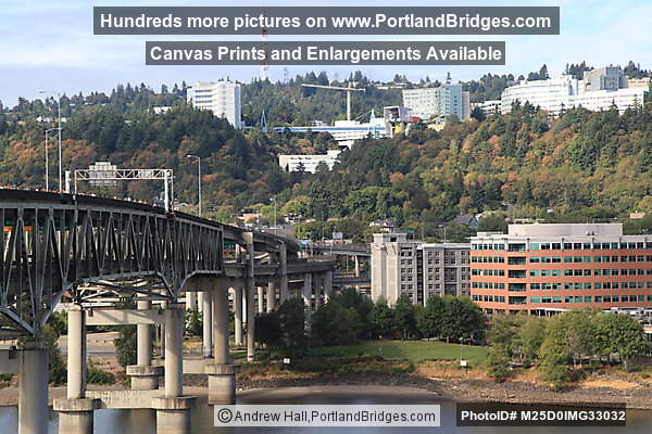 Marquam Bridge, OHSU, viewed from I-5 approaching Marquam Bridge (Portland, Oregon)