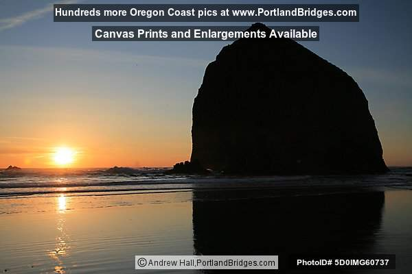 Haystack Rock, Cannon Beach, Oregon Coast, Sunset